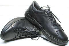 Современные кеды кроссовки черные кожаные мужские осень весна Ikoc 1725-1 Black.