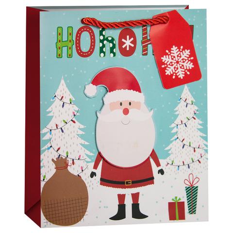 Пакет подарочный, Дед Мороз с подарками, 32*26*13 см