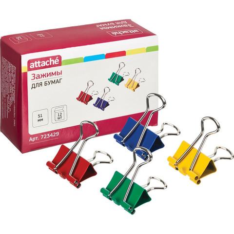 Зажимы для бумаг Attache 51 мм цветные (12 штук в упаковке)