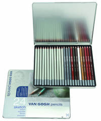 Набор из 24 карандашей Van Gogh для черчения - 12 чернографитовых разной жесткости и 12 цветных карандашей