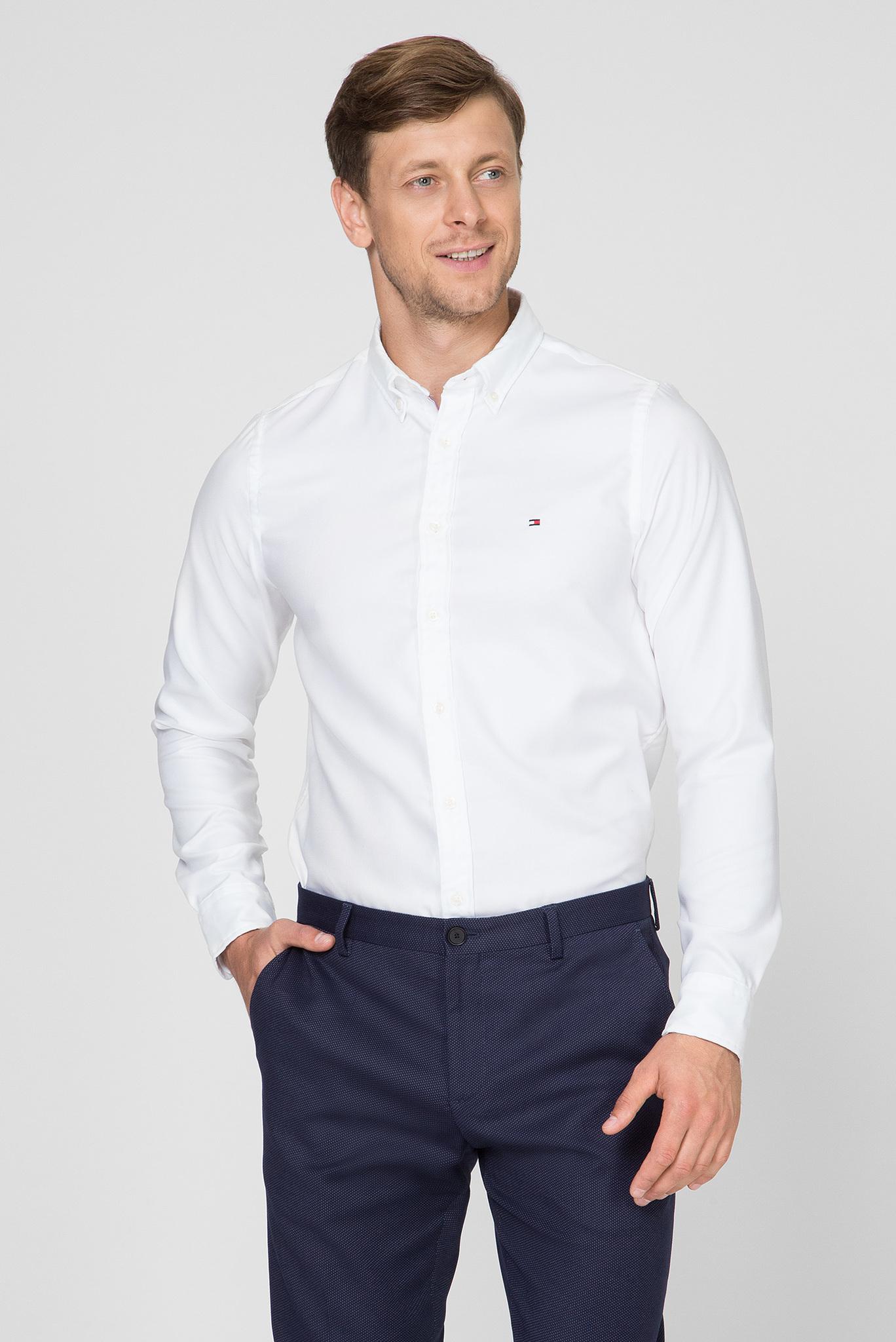 Мужская белая рубашка SLIM ESSENTIAL DOBBY SHIRT Tommy Hilfiger
