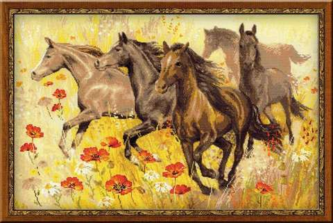 Набор для вышивания крестом «Табун лошадей» (1064)