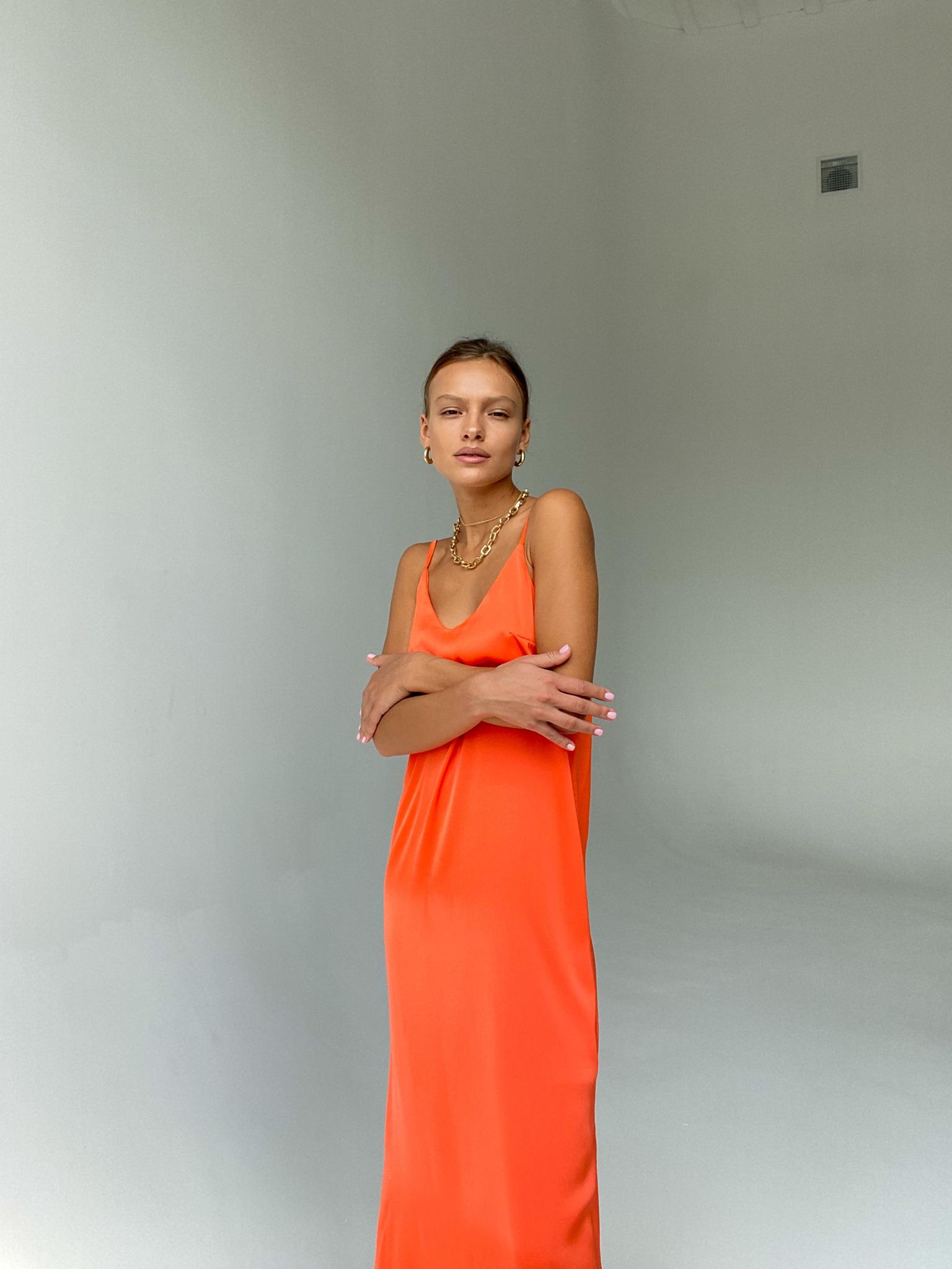 Платье-комбинация из смесового шелка (оранжевый)