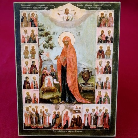 Икона Божией Матери Геронтисса на дереве на левкасе со святыми  мастерская Иконный Дом