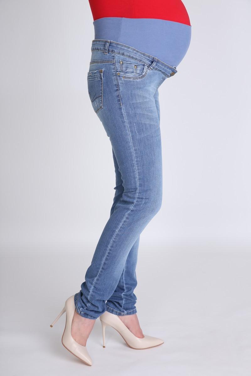 Фото джинсы для беременных MAMA`S FANTASY, зауженные, укороченные, средняя посадка, трикотажная вставка от магазина СкороМама, синий, размеры.