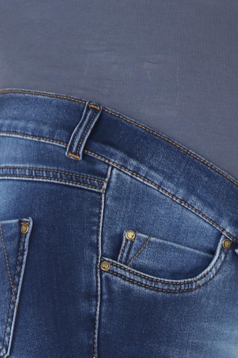 Фото джинсы для беременных MAMA`S FANTASY, зауженные, высокая вставка, потертости от магазина СкороМама, синий, размеры.