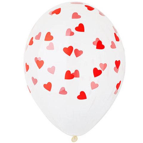 Шары прозрачные 36 см Сердца красные