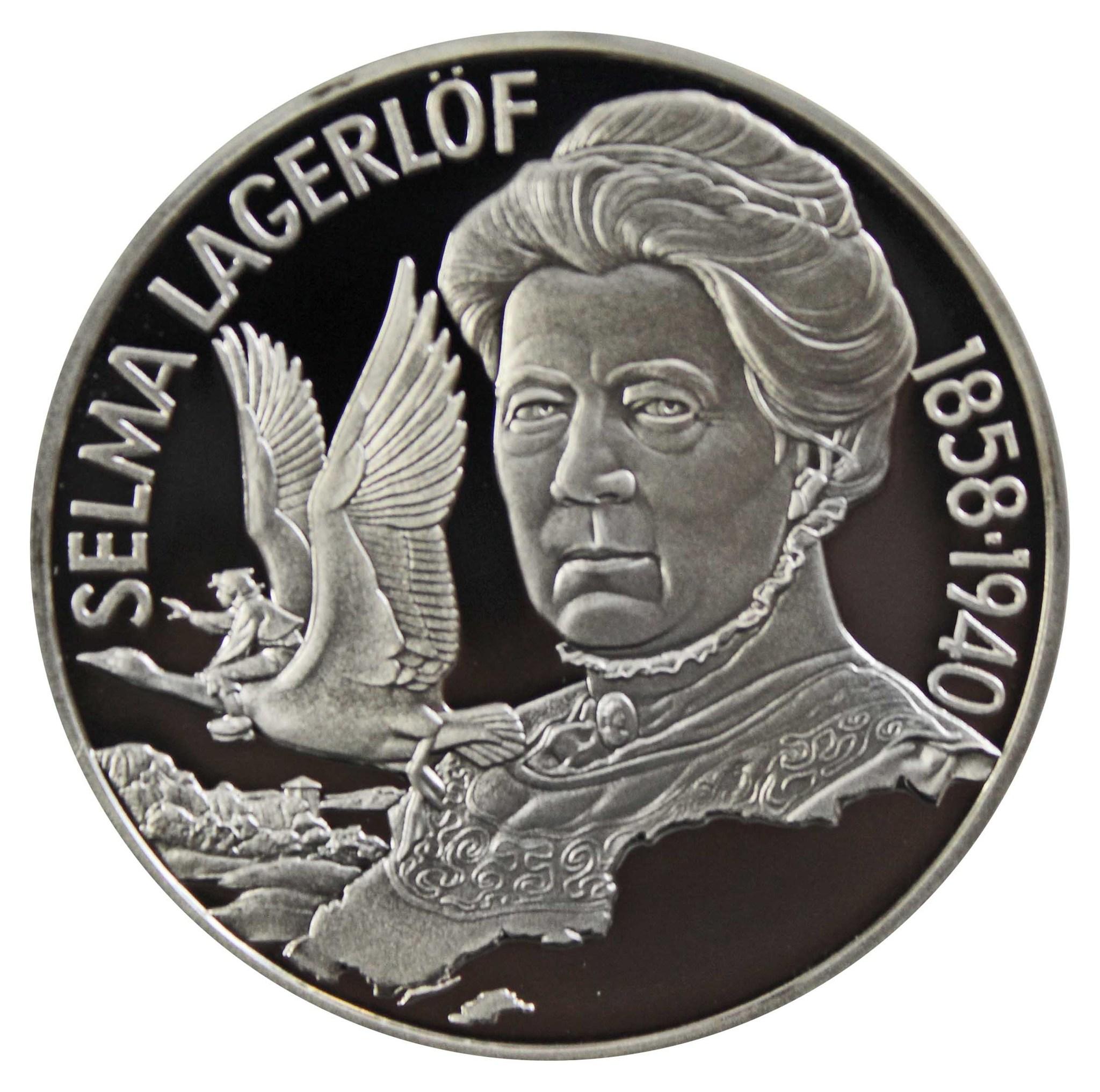 20 евро. Писательница Сельма Лагерлёф. Швеция. 1996 год. Серебро. PROOF