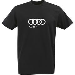 Футболка с однотонным принтом Ауди (Audi R) черная 0026