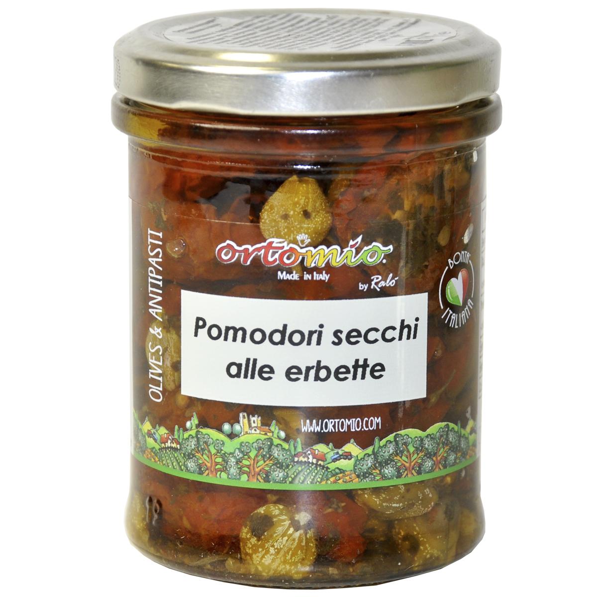 Сушеные помидоры с травами в масле 180 г Ortomio
