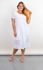 Сантана. Літнє плаття-халат великого розміру з мереживом. Білий.