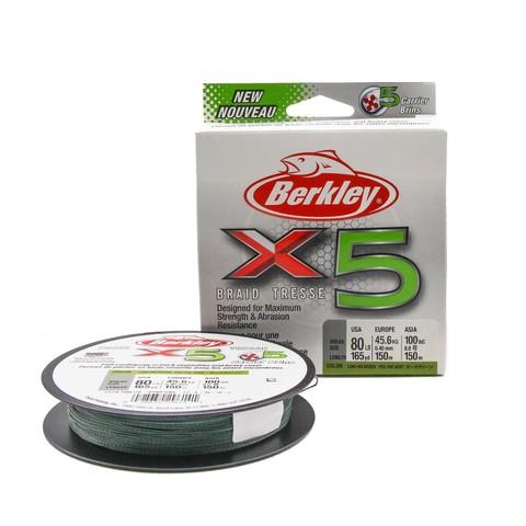Плетеная леска Berkley X5 150м Темно-зеленая 0,40мм 36,3кг