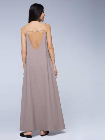 Платье бежевое льняное с открытой спинкой макси