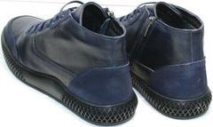 Стильные ботинки из натуральной кожи осень зима мужские Luciano Bellini BC2802 L Blue.