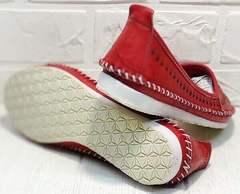 Балетки летние женские туфли на плоской подошве Rozen 212 Red.