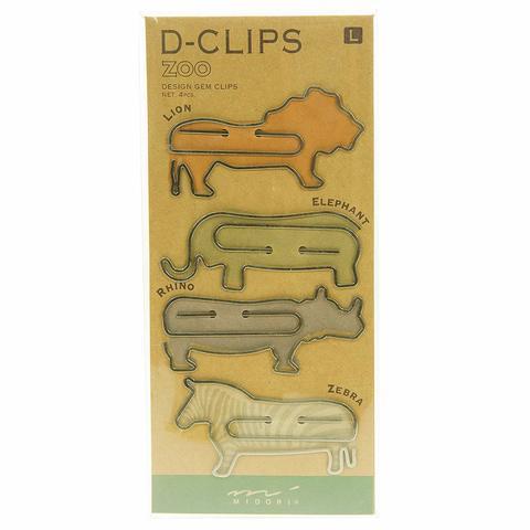 Скрепки Midori D-Clips L Zoo (большие, 4 штуки)