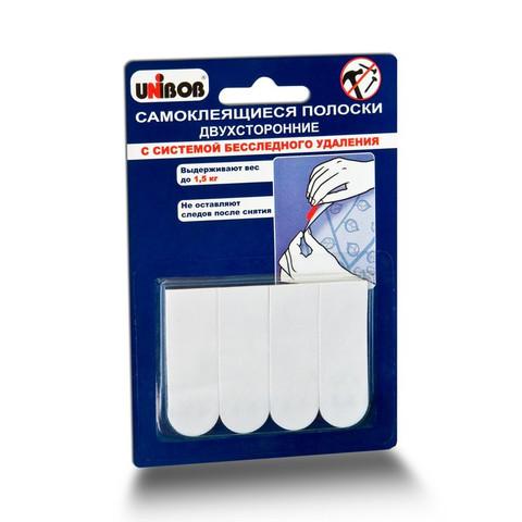 Полоски самоклеящиеся Unibob удаляемые белые нагрузка до 1.5 кг (4 штуки в упаковке)