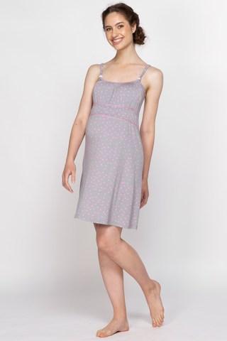 Сорочка для беременных и кормящих 10720 серый
