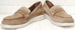 Замшевые лоферы туфли женские на низком ходу Anna Lucci 2706-040 S Beige.