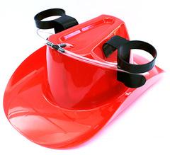 Пивная шляпа с подставками под банки, красная, фото 2