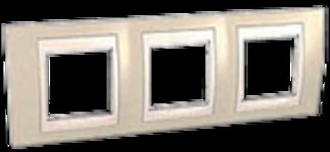 Рамка на 3 поста. Цвет Песчаный/Бежевый. Schneider electric Unica Хамелеон. MGU6.006.567