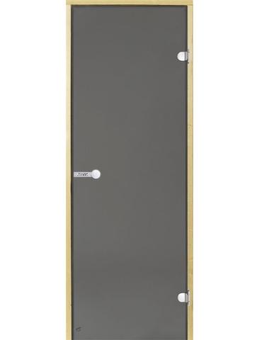 Дверь стеклянная Harvia 8х19, коробка сосна, стекло серое, артикул D81902M