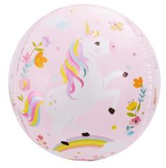 Шар (24''/61 см) Сфера 3D, С Днем Рождения (волшебные единороги), Розовый, 1 шт.