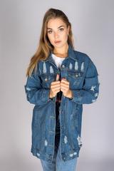 удлиненная джинсовая куртка синего цвета nadya