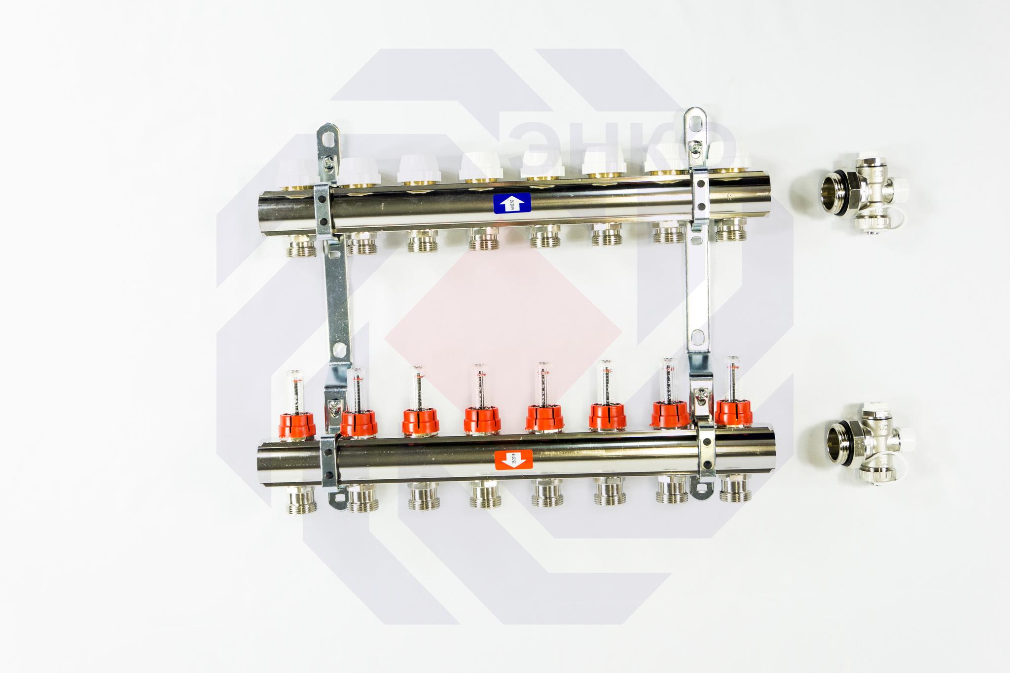 Комплект коллекторов с расходомерами ITAP 916C 8 контуров