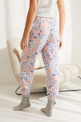 Рожеві штани-джоггери з бавовни з квітковим принтом