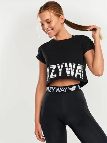 Футболка укороченная женская для йоги свободного кроя