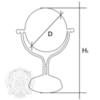 Зеркало оптическое (3х) настодьное  ткань Migliore Elizabetta  ML.ELB-60.118 H38 cm; D18 cm схема