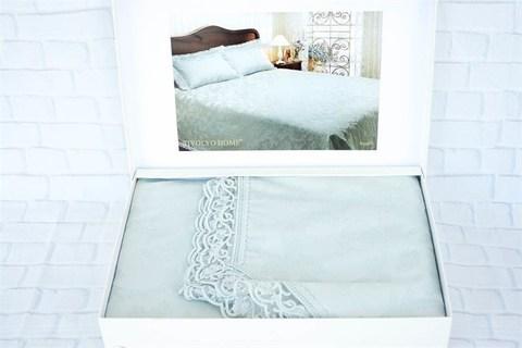Покрывало жаккардовое 2-спальное Tivolyo home AMELFI 260х260 см бирюзовое
