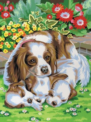 Алмазная Мозаика 40x50 Собака с щенками (арт. 2PAV703)