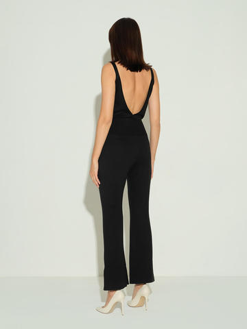 Женский комбинезон черного цвета из шелка и кашемира - фото 4