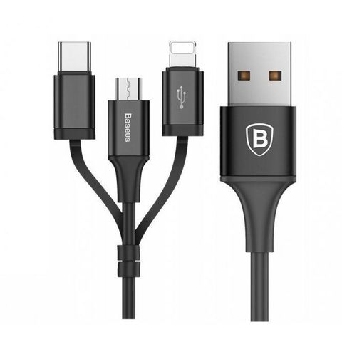 Кабель Baseus Excellent Three-in-one Cable USB For Micro/Lightning/Type-C 2A 1.2M Black