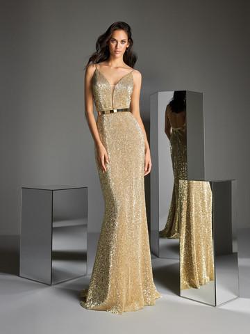 Вечернее платье классическое в пайетках цвета желтого золота