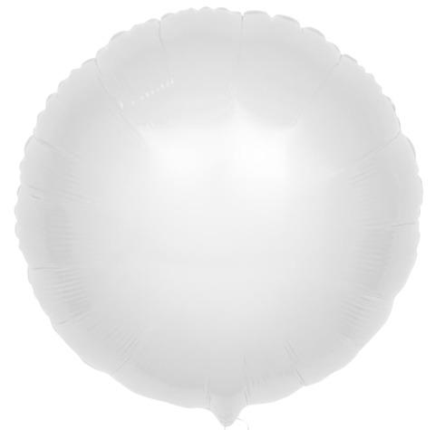 Фольгированный шар круг , белый, 46 см