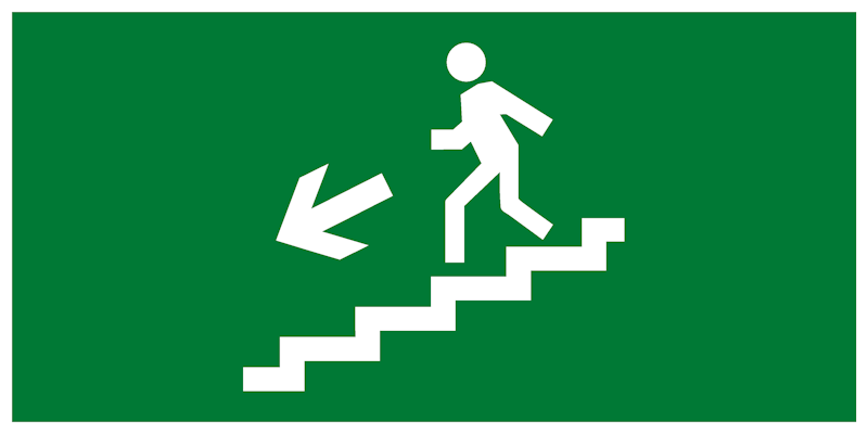 Эвакуационный знак – Направление движения к эвакуационному выходу по лестнице вниз налево