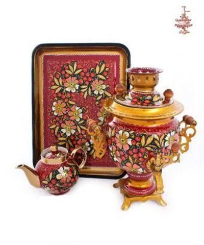 Самовар «Цветочные прелести» электрический формой овал 3 л в наборе с подносом и чайником
