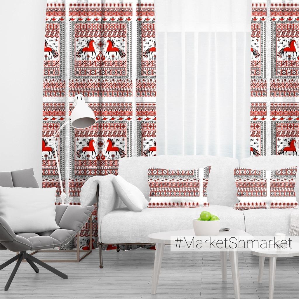 Прямоугольный орнамент с лошадьми, птицами, солнцем. Мезенская роспись. (Дизайн для полотенец, салфеток, скатертей).  Irina Skaska