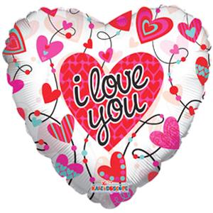 Фольгированный шар Любовь Сердца с орнаментом прозрачный 18