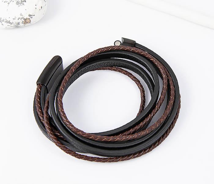 BM515 Мужской браслет из кожаных полос и шнуров (19,5 см)