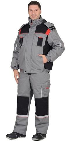 Костюм зимний: куртка, п/к, средне-серый с черной и красной отделкой