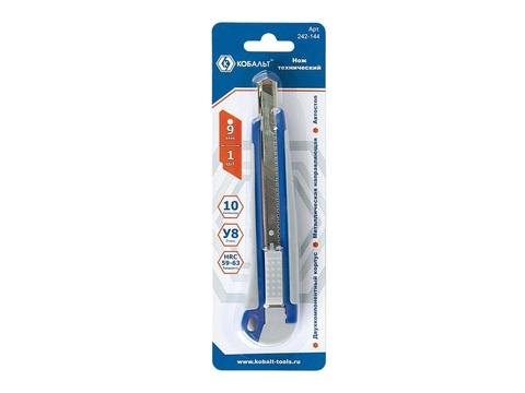 Нож технический КОБАЛЬТ лезвие 9 мм, двухкомпонентный корпус, металлическая направляющая,  (242-144), шт