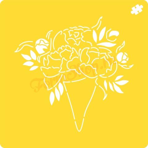 Трафарет Букет цветов форма для пряника, мастики, печенья