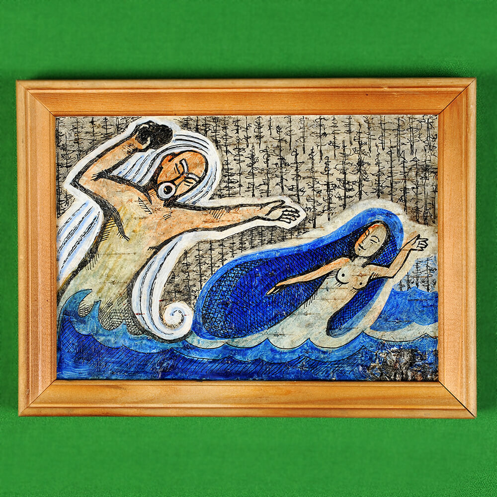 Картина на бересте Байкал бросает скалу в Ангару