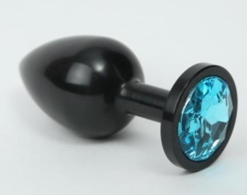 Анальная пробка металл черная с голубым стразом 8,2х3,5см 47411-1MM