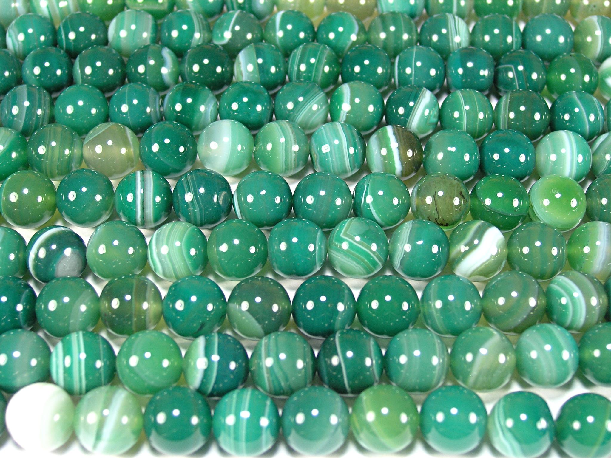 Нить бусин из агата зеленого (термо обработанного), шар гладкий 10мм