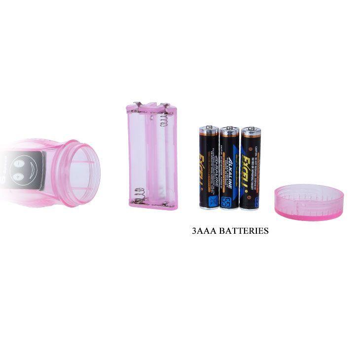 Розовый вибратор с анальным и клиторальным стимуляторами - 22 см.